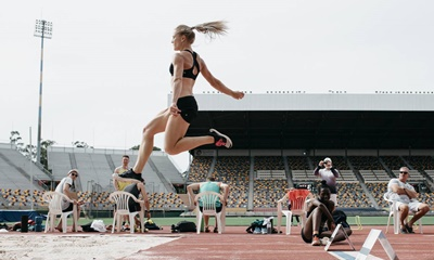 Chelsea Jaensch: In full stride during a jump.